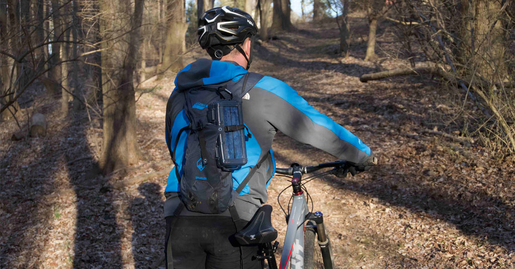 Mountain Biking in the woods with a RokPak Pioneer Series