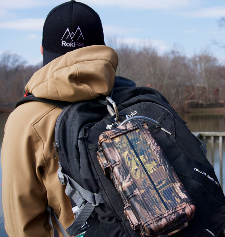 Camo RokPak on backpack
